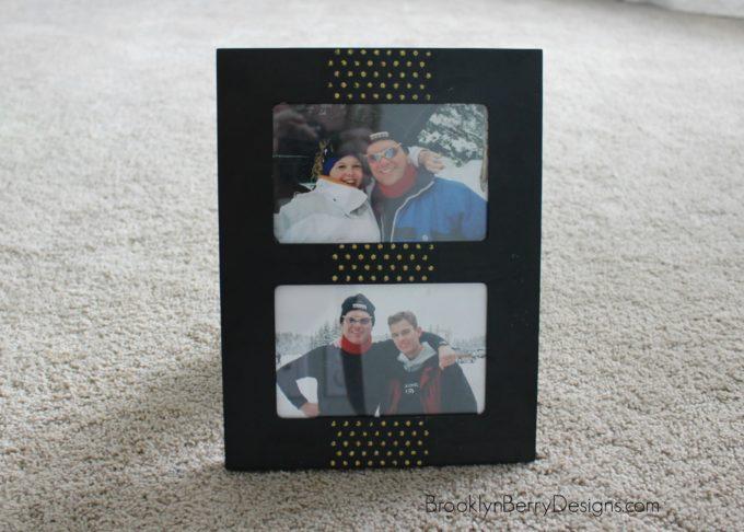 Super easy glitter picture frame using Mod Podge Rocks stencils and glitter glue.