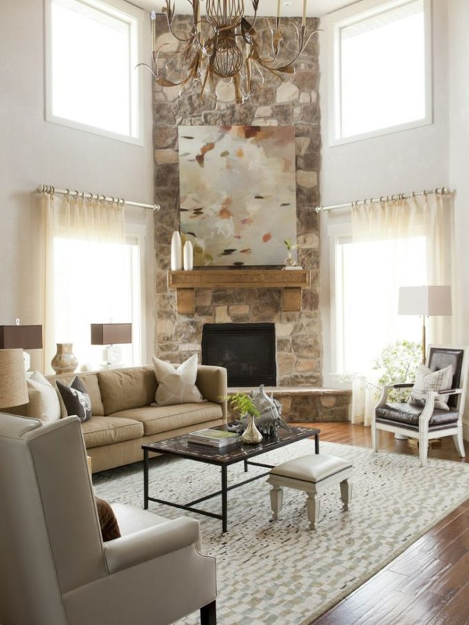 Arranging furniture with a corner fireplace brooklyn berry designs for Awkward living room layout with corner fireplace