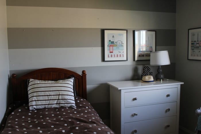 Boys Bedroom Striped Walls