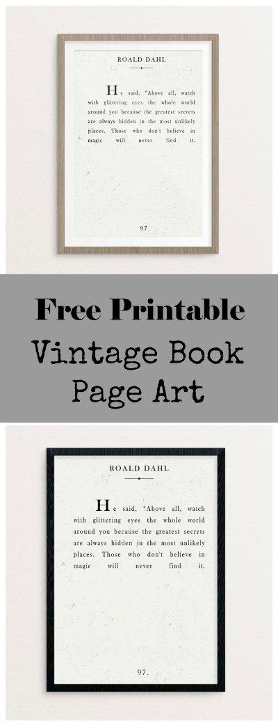 Free printable book page art