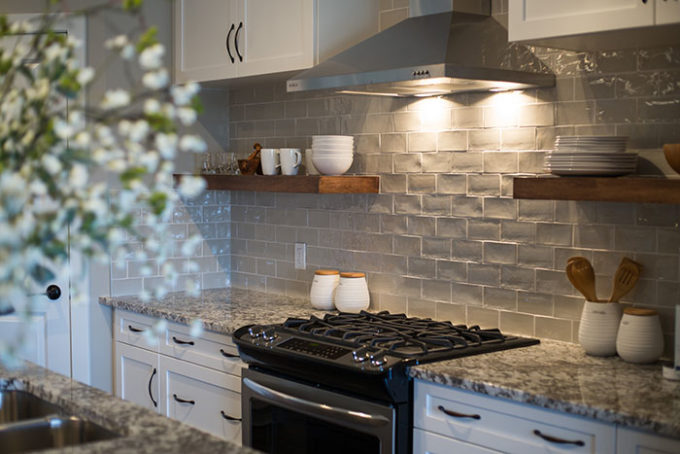 Modern gloss grey subway tiles - tour this cozy and comfortable show home at Brooklyn Berry Designs.