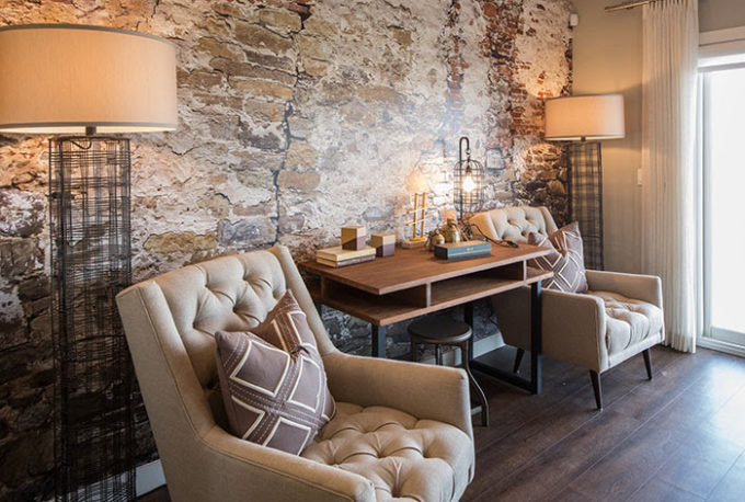 A separate seating area is a perfect conversation area in the large great room - tour this cozy and comfortable show home at Brooklyn Berry Designs.