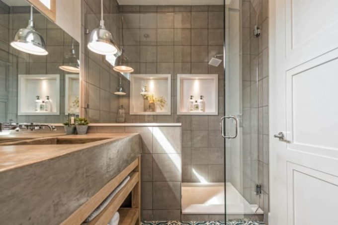 Fixer Upper Shotgun House master bathroom shower tile