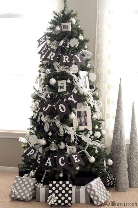 Black and white Christmas tree decor