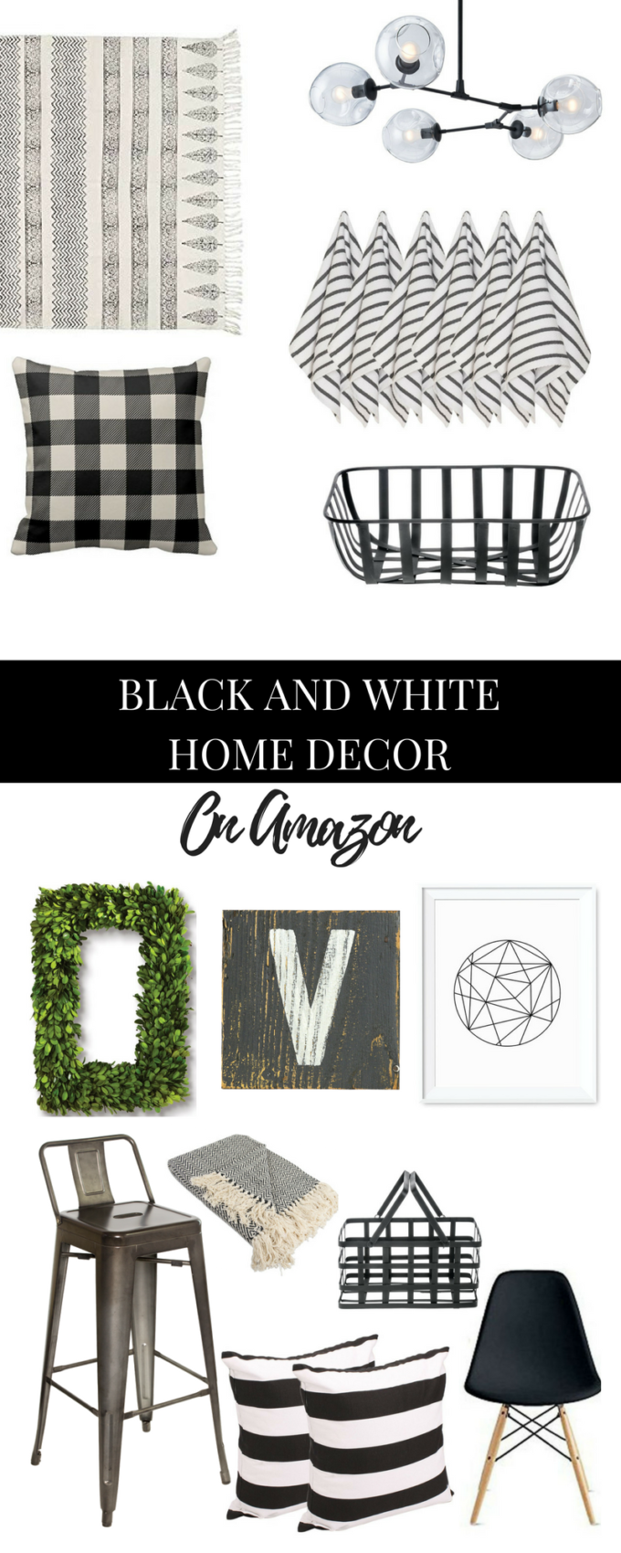 black and white home decor on amazon