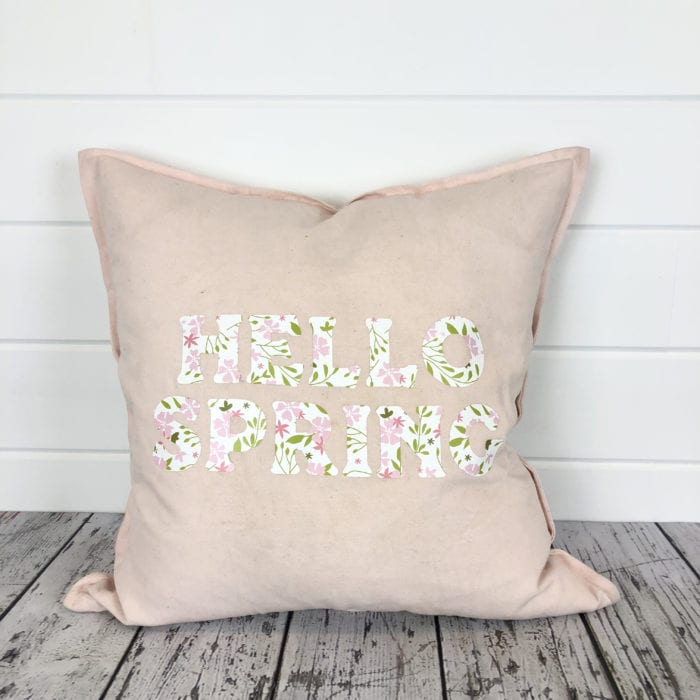 Hello Spring Pillow with Patterned Iron On Vinyl from Cricut
