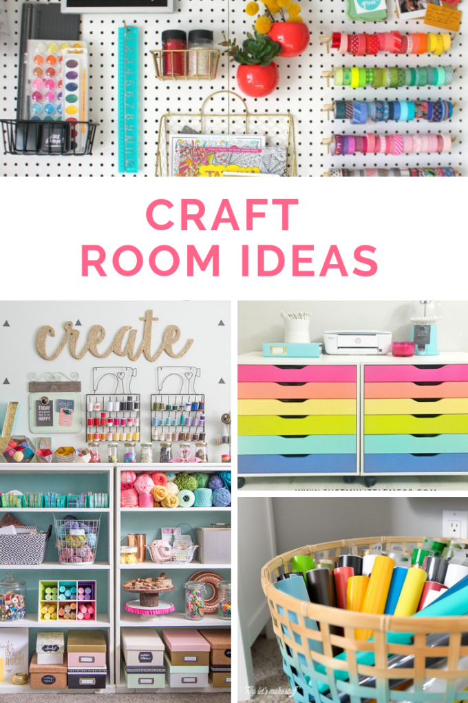Tons of creative craft rooms to store all your craft supplies.  Craft room inspiration.